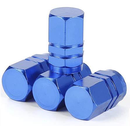 Italian Charms 4pcs Blue Aluminum alloy Hex Dust Cap for SUV, Motorbike, Trucks, Bike, Bicycle, Baby Buggies UK stock