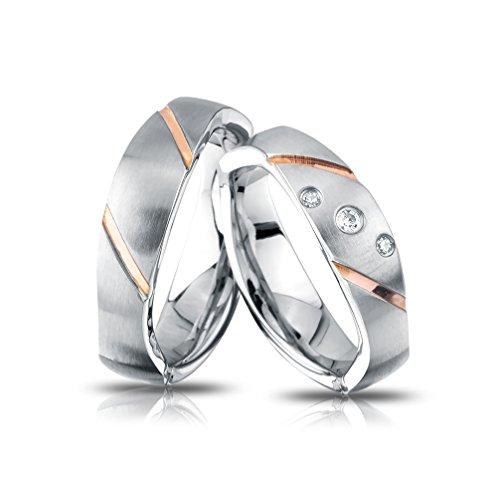 Juwelier Schönschmied - Unisex Trauringe Hochzeitsringe Eheringe Hyadum Edelstahl 62-66 257HDac - Kostenlose Wunschgravur mit AMAZON KONFIGURATOR online gestalten!