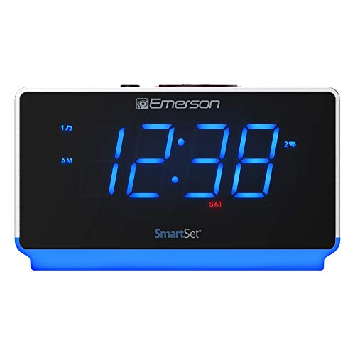 Emerson Radio ER100112 Smartset Alarm Clock Radio with Bluetooth Speaker, USB Charging, Night Light, 1.4 Blue Jumbo Display & Dual Alarm