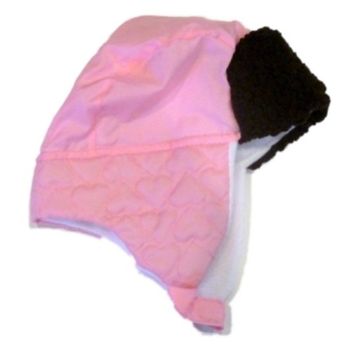 Faded Glory Girls Pink Hat Beanie Stocking Cap Trapper Hat Fur Top