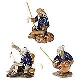 Happyyami Estatuillas de Pescador en Miniatura Chino Mudman Sentado en El Jardín de La Pesca Estatua Ornamento para Micro Maceta Florero Acuario Decoraciones Asiáticas Decoración para La