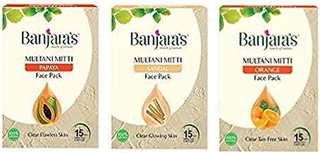 Banjaras Multani Mitti with Orange, Papaya, SandalFace Pack Powder, 100g *3