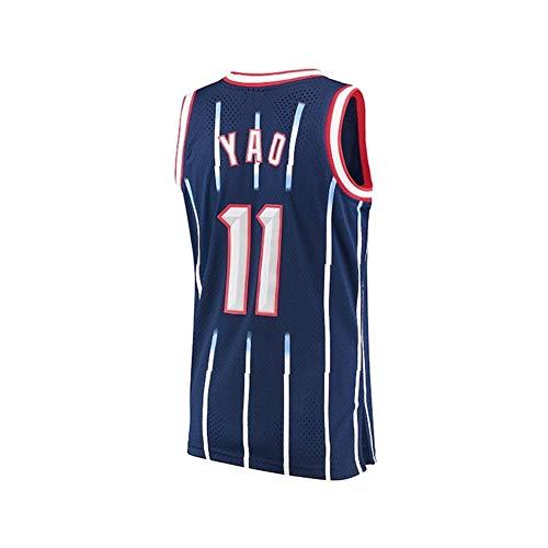 FYZS Nr Rockets 11 YAO Rookie Bai Da Yao Ming Retro Blau und Schwarz Spiel Breath Retired Jersey Basketball-Trikot (Color : Style2, Size : Large)