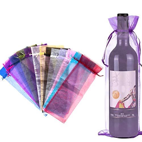 N\\O Weinbeutel,24 Pcs Wein Geschenkbeutel Organzasäckchen 6 Transparente Weinbeutel in Schönen Farben für Wein Champagner Hochzeit Weihnachten Party(Seeblau/Tiefviolett/Rot/Pink/Grün/Schwarz) 37X14cm