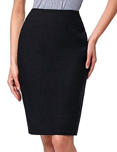 Kate Kasin Women Slim Fit Pencil Skirt Vintage Elastic Skirt,Kk278-black,Medium