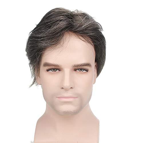Lordhair Thin Skin Toupee para hombres hombres piezas de pelo de repuesto sistema Jet Color negro #1 Cabello humano peluca para hombre