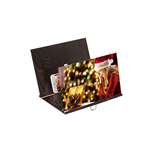 DGHJK Lupe, 12 '' 3D HD-Bildschirmlupe für Mobiltelefone, Strahlenschutzvergrößerungsbildschirm für Mobiltelefone, Filmvideobildschirmverstärker mit Holzkornständerhalterung Faltbarer Ständerhalter