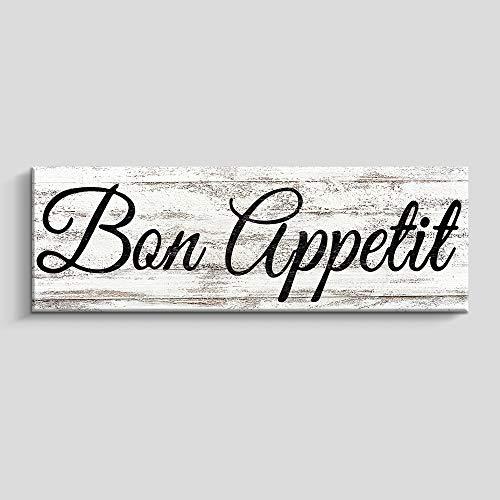 Rustic Kitchen Wall Decor, Farmhouse Wall Art, Kitchen Sign Home Decorations (6X17 INCH,Bon Appetit)