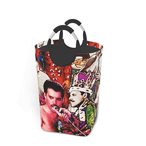 5husihai Queen Rock Band Freddie Mercurylarge Waterproof Foldable Laundry Hamper, Dirty Clothes Laundry Basket, Linen Bin Storage Organizer for Toy Collection