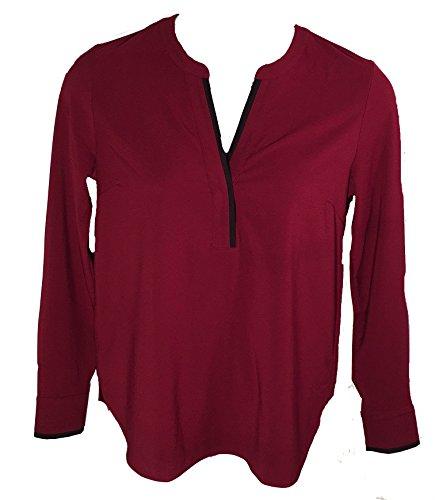 Hilary Radley Womens V-Neck Deep Red Long Sleeve Shirt, Medium