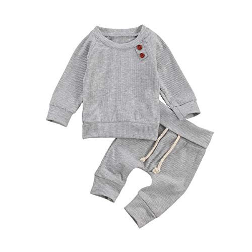 Conjunto de 2 camisas de manga larga para bebé con cordón, pantalones largos, estilo casual, pantalones deportivos, ropa de casa gris 0-3 Meses