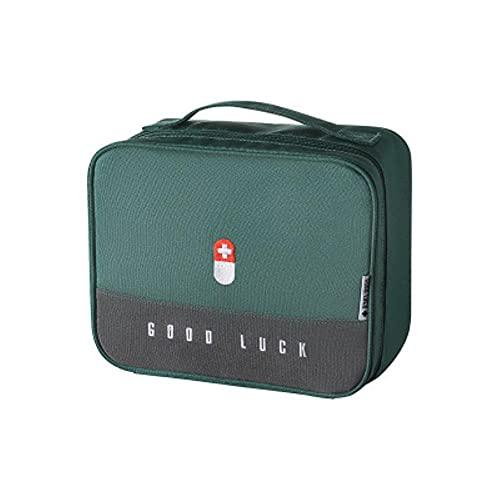 Caja de medicina portátil de viaje al aire libre de gran capacidad Medicina portátil Vehículo de aventura Botiquín de primeros auxilios de tela para el hogar Bolsa-Verde
