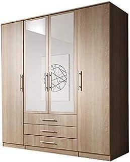 E-MEUBLES Armoire de Chambre avec 4 Portes   Penderie (tringles) avec étagères (LxHxP): 200x210x64 Ruth 4D (Chêne Sonoma)