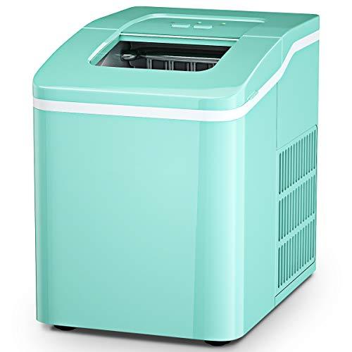 GOPLUS 1,6 L Eiswürfelmaschine, Eiswürfelbereiter mit Produktionszeit von 8 Minuten, 12kg Eiswürfel /24h, Selbstreinigungsfunktion, mit LCD-Anzeige, inkl. Eiswürfelschaufel, für Zuhause, Bar (Grün)