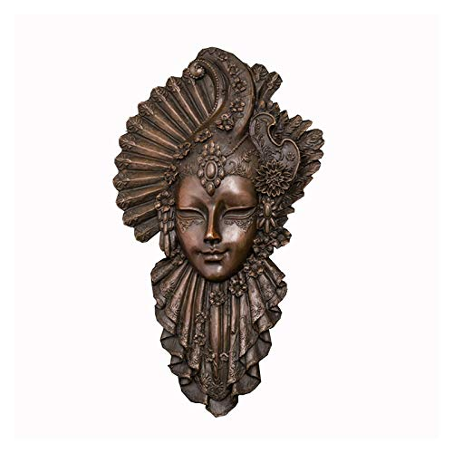 FENGJIAREN Estatuas,Estatuillas,Esculturas,Muro De Bronce Color Café Escultura En Bronce Figura Hermosa Decoración De Arte Máscara