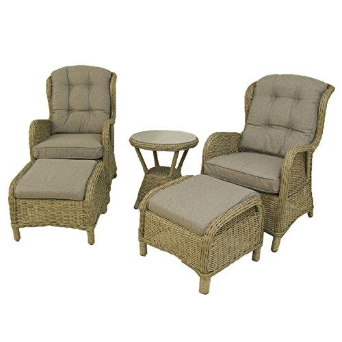 Conjunto de jardín, Mesa Auxiliar, 2 sillones reclinables y 2 reposapiés, Aluminio y rattán sintético Redondo, Color Natural