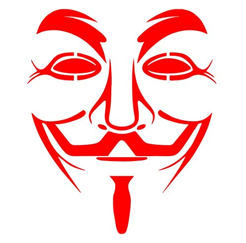 Adhesivo Anonimus – Apto para ventanas, paredes, cristales, muebles, coche, cocina, máscara de bigote, V para venta, máscara de anonymous mask – Decoración de pared de dormitorio – Rojo 16 x 14 cm