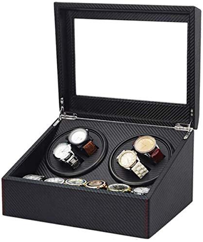 JWCN Caja de almacenamiento automática de madera de la devanadera del reloj de 4+6 con la caja de almacenamiento del reloj del motor silencioso con la fuente de alimentación del motor negro Uptodate