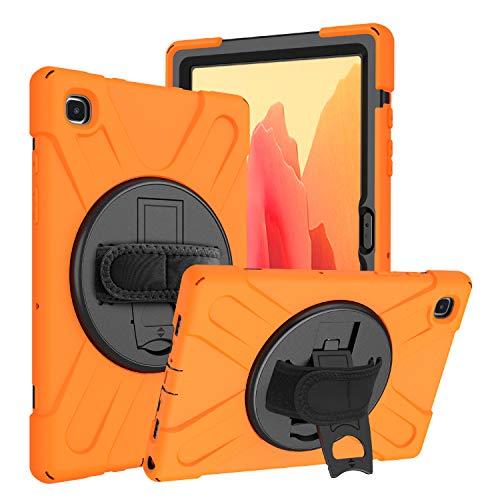Funda Galaxy Tab A7 10.4 T500 T505 T507 T505N, Híbrido Tres Capas Funda Carcasa Protector con Correa de Mano, 360 Rotación Kickstand para Samsung Galaxy Tab A7 10.4 T500 T505 T507 T505N (Naranja)