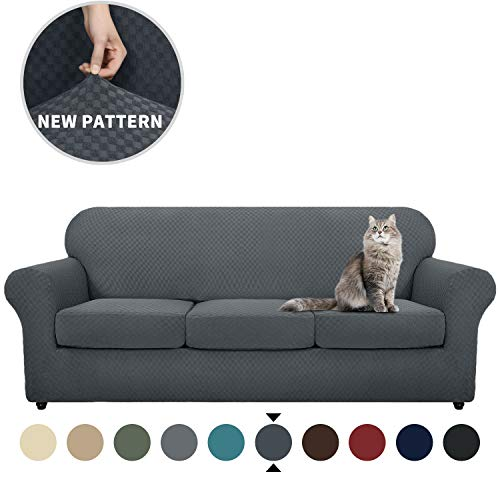 YEMYHOM Latest Checkered 4 Pieces Couch Covers for 3 Cushion Couch High Stretch Thickened Sofa Cover for Dogs Pets Anti Slip Elastic Slipcovers Living Room Furniture Protector (Sofa, Dark Gray)