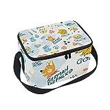 Bolsa térmica para almuerzo, colorida, con diseño de palabras de perro, con correa, para escuela, oficina, pícnic, para hombre, mujer, adulto, niña y niño