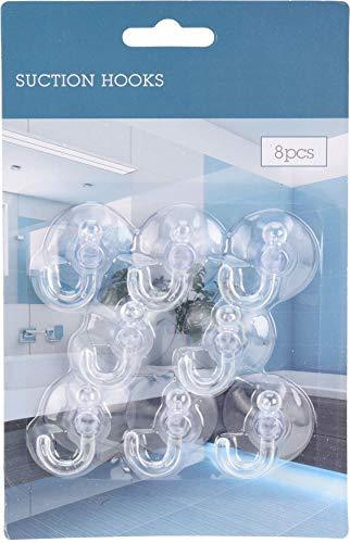 MIJOMA 8er Pack Saugnapf-Haken Set Ohne Bohren, Saughaken für Fenster Glas Küche Badezimmer, Transparent