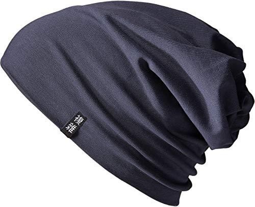 Enter the Complex® Leichte Jersey Mütze, Damen und Herren, Slouch Beanie aus Baumwolle, Elastisch, L/XL, Anthrazit