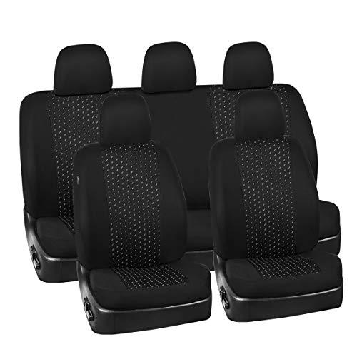 CAR PASS Juego de 11 fundas universales para asientos de coche Supreme Jacquard, ajuste universal para vehículos, coches, SUV, airbag compatible (negro y gris)
