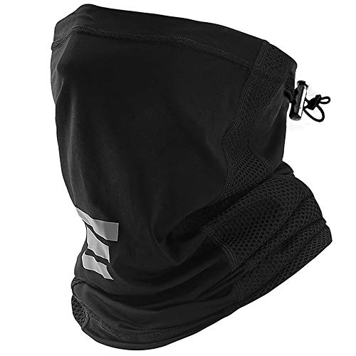 (1-Pack) Summer Cooling Neck Gaiter Drawstring, Breathable Fitness Face Cover, Sun Wind Dust Protection Lightweight Bandana Scarf Mask