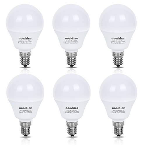 E12 LED Bulb 50 Watts Equivalent, Aooshine 5 Watt LED Candelabra Bulb, Daylight White 5000K Decorative G14 LED Bulbs for Ceiling Fan Non-Dimmable(Pack of 6)