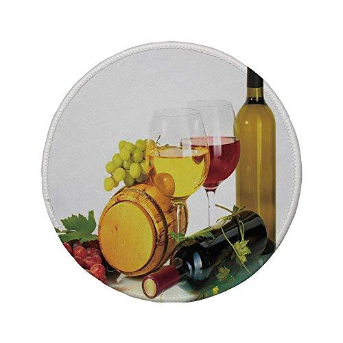 Rutschfeste Gummi-Runde Mauspad Wein Zusammensetzung mit kleinem Fass Zwei Arten von Trauben Getränke Getränke Produkt Dekorativ Rot Gelb Hellgrün 7,87 'x 7,87' x 3 mm