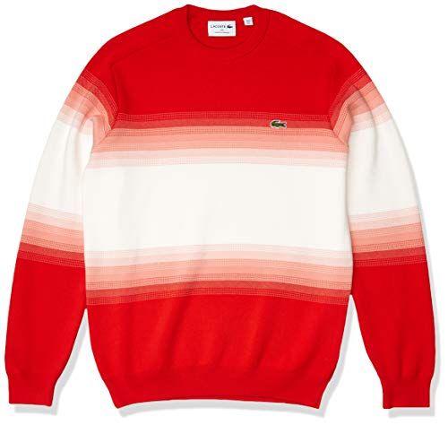 Lacoste Men's Long Sleeve Ombre Interlock Sweater, Corrida/Elf Pink-Flour, 3XL