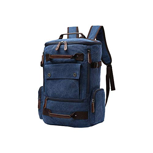 MANNUOSI Casual Daypacks Men Canvas Durable School Backpack High Capacity Computer Bag Traveling Backpack Blue