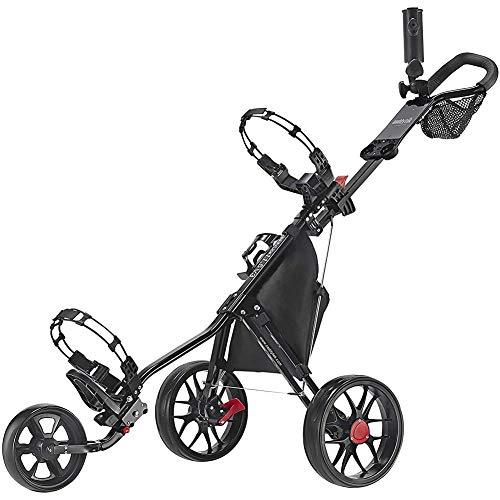 Golftrolley Golfwagen Klappbar, Golf Push Trolley 3 Rad, Golf Push Cart Mit Scorekarten-Halterung, Regenschirmhalter, Leichter, Kompakter Zugwagen, Leicht Zu Öffnen