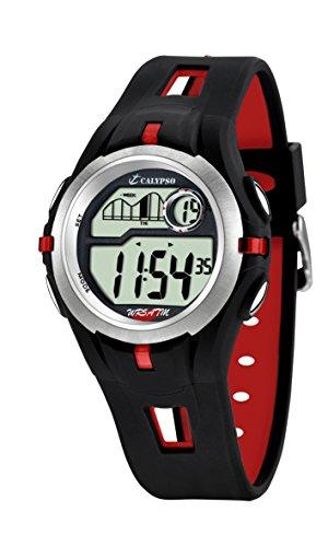 Calypso Reloj Modelo K5511/4 de la colección Digital Crush, Caja de 42,5 mm Correa de Caucho Negro Rojo para Caballero