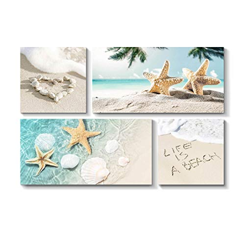 TAR TAR STUDIO Sand Beach Wall Art Picture: Seashell and Starfish Artwork Print on Canvas for Living Room (Overall 36' W x 24' H, Multiple Style)