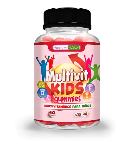 Complejo Multivitamínico para niños | Fortalece y protege las defensas | Aporta energía y bienestar | Favorece un crecimiento correcto y saludable | Gominolas sin azúcar sabor cereza 60U.