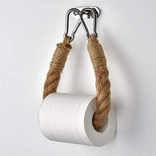 Dreameryoly Toilettenpapierhalter aus Hanfseil, Toilettenpapierhalter aus Hanfseil, kreatives handgefertigtes Retro-Seil an der Wand