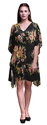 Bimba Black4 Blumen Stieg Strand Kaftan-Bikini-Vertuschung Frauen Midi-Kleid Kurz Kaftan-S-L
