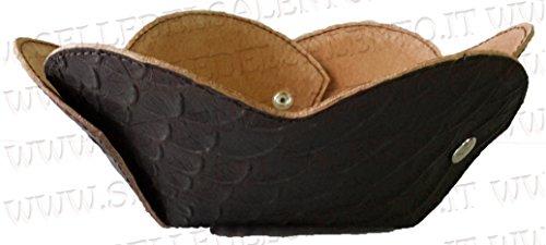 Vide-poche en cuir imprimé marron idée cadeau vide poches