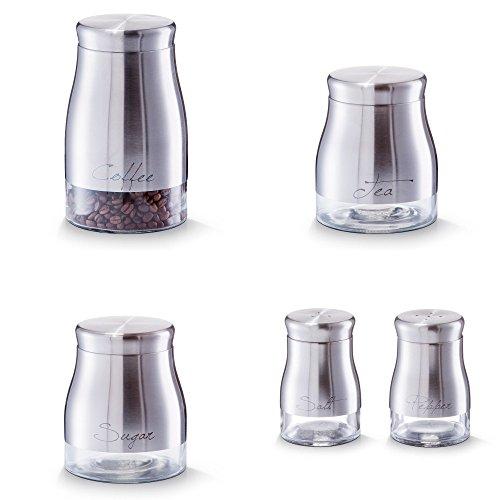 Vorratsdosen Zucker Kaffee Salz Pfeffer Streuer Tee Dose Behälter Edelstahl Glas (Komplettes Set)