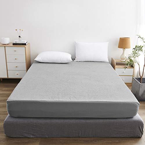 HAIBA Protector de colchón, impermeable, cubrecolchón para incontinencia, lavable, sábana bajera de algodón para cama con somier, gris claro, 90 x 200 + 30 cm