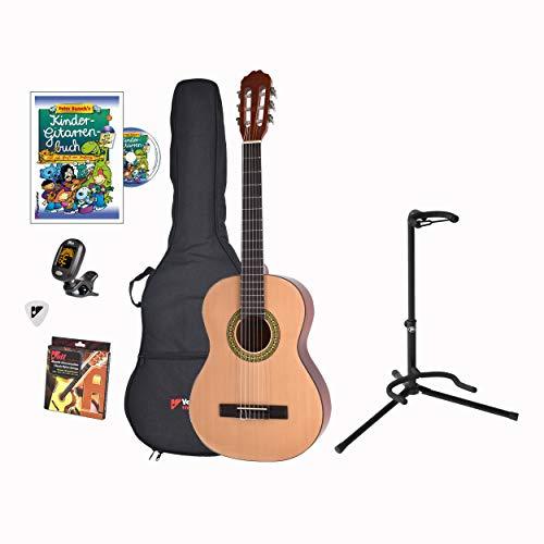 Voggenreiter Kindergitarren-Set, 7-tlg, Gitarre 3/4, Volt Gitarrenständer GS-100, Kinder Akustikgitarre