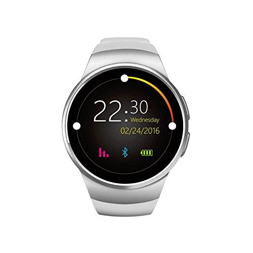 Bluetooth WRIST Wrap fitness Smart Watch orologio da polso/frequenza cardiaca/singolo click sul quadrante chiave, orologio da polso Holder KW18E Smart Watch fitness–Silversmart Phone Watch con