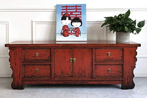OPIUM OUTLET Aparador Cómoda Chifonier China Rojo, Salon, Dormitorio, Comedor Estilo Shabby Chic Antiguo