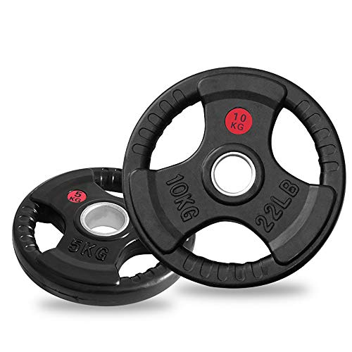 LIFT AT HOME Olympic Rubber Weight Plates 2' Tri Grip 20kg 10kg 5kg 2.5kg (x2 plates) (10kg Pair)