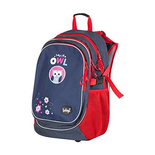 Baagl Kinderrucksack, Schulrucksack für Kinder mit ergonomisch geformter Rücken, Brustgurt und reflektierende Elemente (Blau/Rot)