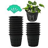 Mengxin 30 Pièces Pot Hydroponique avec 20 Pièces Etiquette Plante Plastique Pot Plantation Hydroponique pour Culture Hydroponique Aéroponique, Plantation de Fleurs, Jardinage