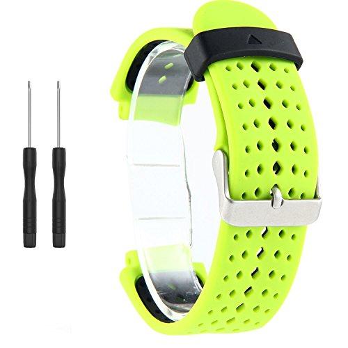 Correa de repuesto para reloj inteligente Garmin Forerunner 220/230/235/620/630/735XT (incluye herramientas de instalación) de Kobwa, Green+Black