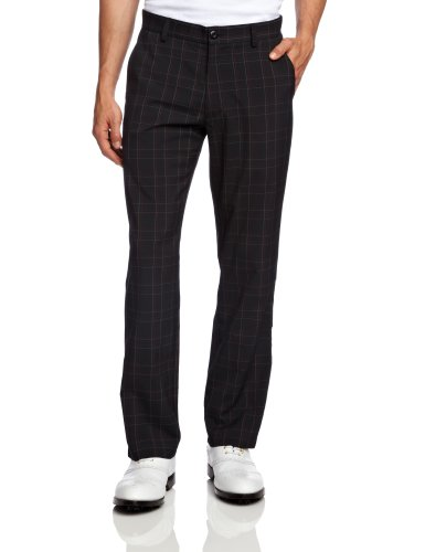 Calvin Klein Herren Golfhose, kariert, Herren, Schwarz/Industrial Pink, 42/Regular
